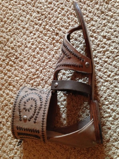 Ash Gladiator Leather Tan and Brown Sandals Image 7
