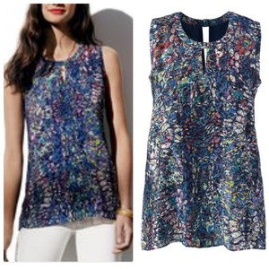 CAbi Keyhole Sleeveless Cut-out Print Stained Glass Top Blue, Multi