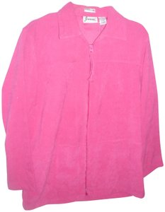 Joanna Boxy velvety faux suede bright pink lightweight jacket track jogging
