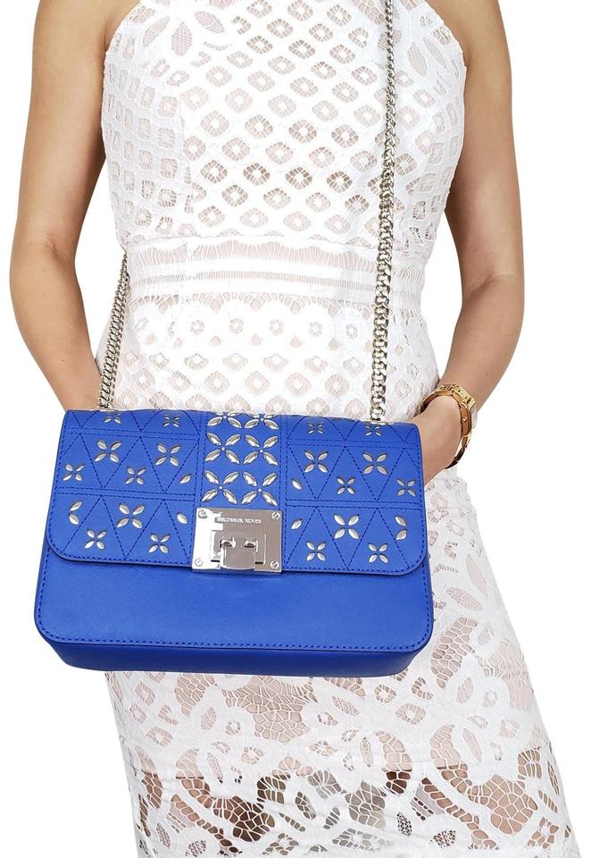 2b328575c28b Michael Kors New Medium Crossbody Purse Electric Blue Shoulder Bag ...