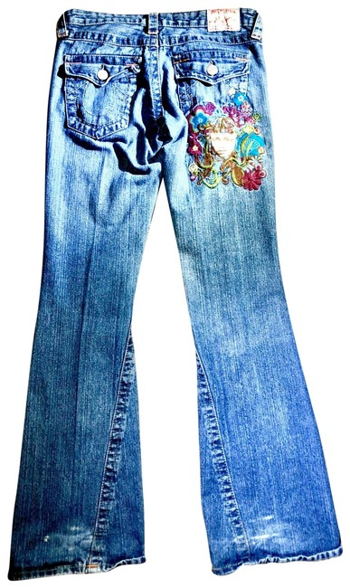 Item - Multicolor Medium Wash Embroidered Boot Cut Jeans Size 6 (S, 28)
