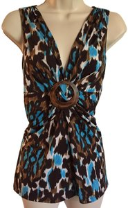 Cache Top Blue, Brown, and Black