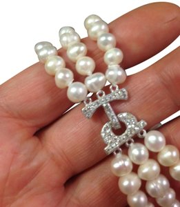 Pearl Bridal Collection Natural White Akoya Cultured Pearls bracelet 3 rows