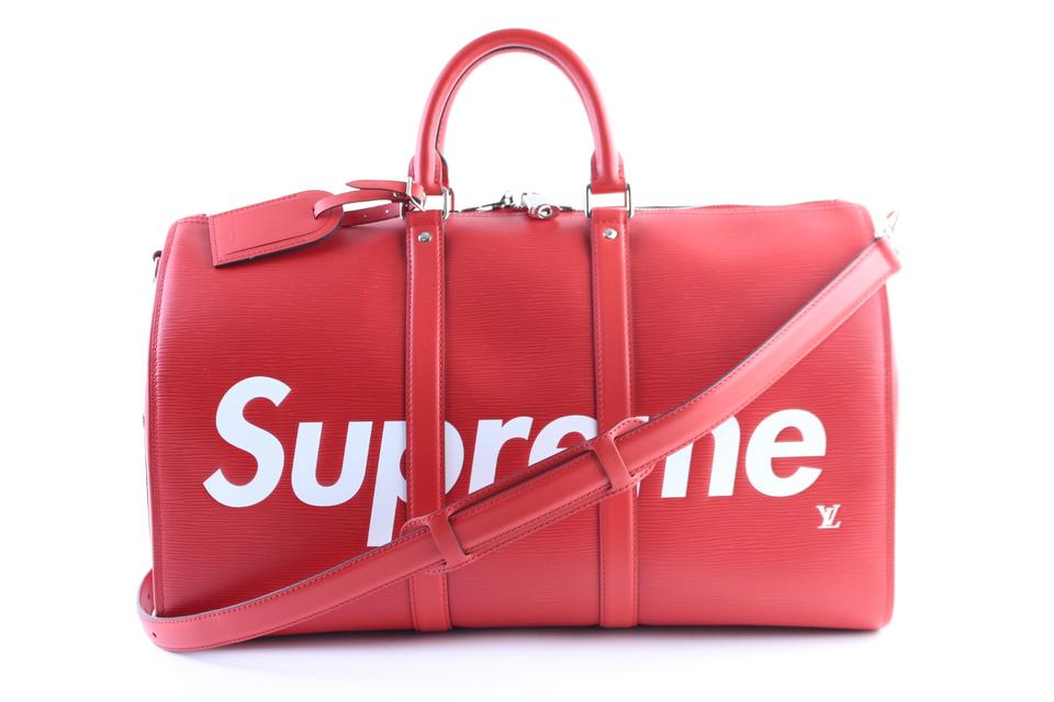 f04bc65cf93f Louis Vuitton x Supreme Duffle Keepall Backpack Monogramouflage Rare Sold  Online 7 24 18 ...