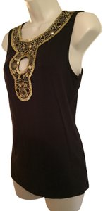 Cache Top Dark Brown with Gold Accents