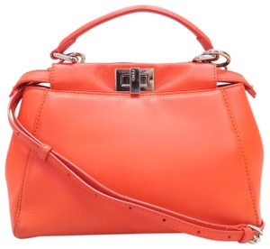 Fendi Mini Leather Peekaboo Satchel in orange