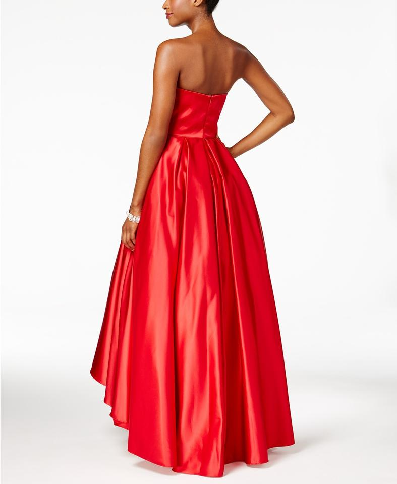 Betsy & Adam Red Strapless High-low Ball Gown Long Formal Dress Size ...