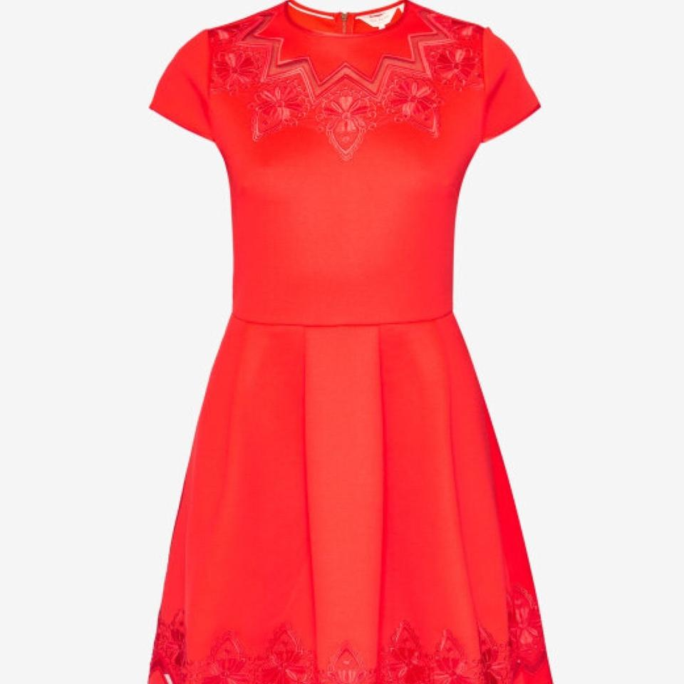 6621bb041d Ted Baker Bright Red Cheskka Mesh and Lace Skater Short Cocktail Dress Size  8 (M) - Tradesy