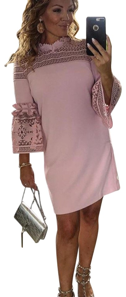 d04d56e89 Ted Baker Dusky Pink Lucila Lace Bell Sleeved Tunic Short Cocktail ...