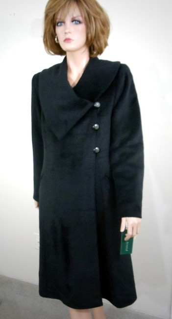 Harvé Benard Portrait Collar Asymmetrical Swing Coat Image 2