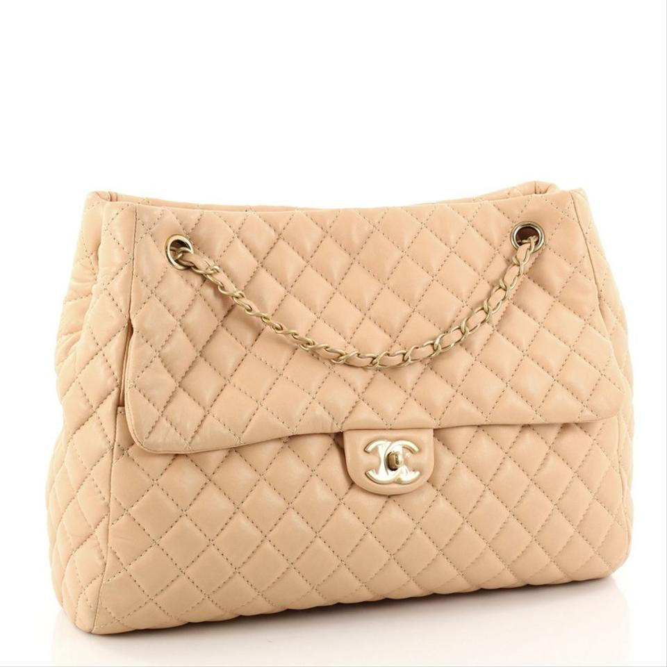 f22144006881 Chanel Fluffy Cc Quilted Lambskin Large Light Peach Leather Tote ...