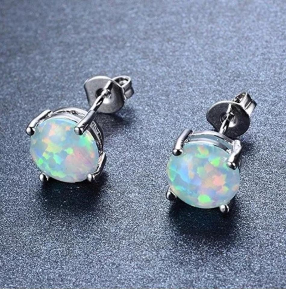 Xquisite By Design Sterling Silver 925 Ethiopian Opal Studs