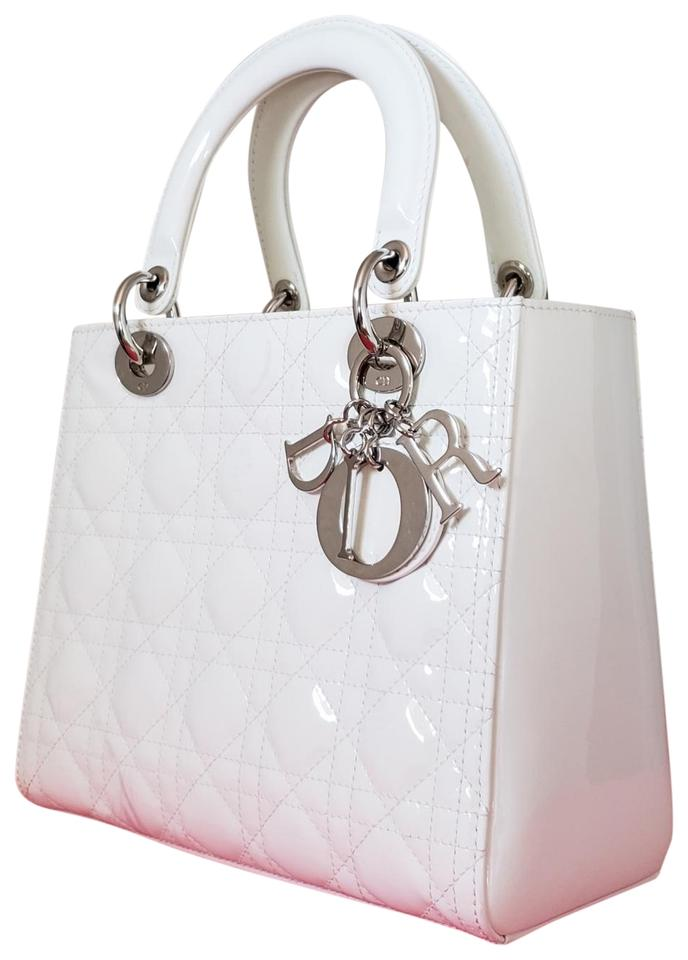 Dior Lady Lady Purse Lady Lady Medium Lady Patent Tote in off White ivory  ... c67c3e03693