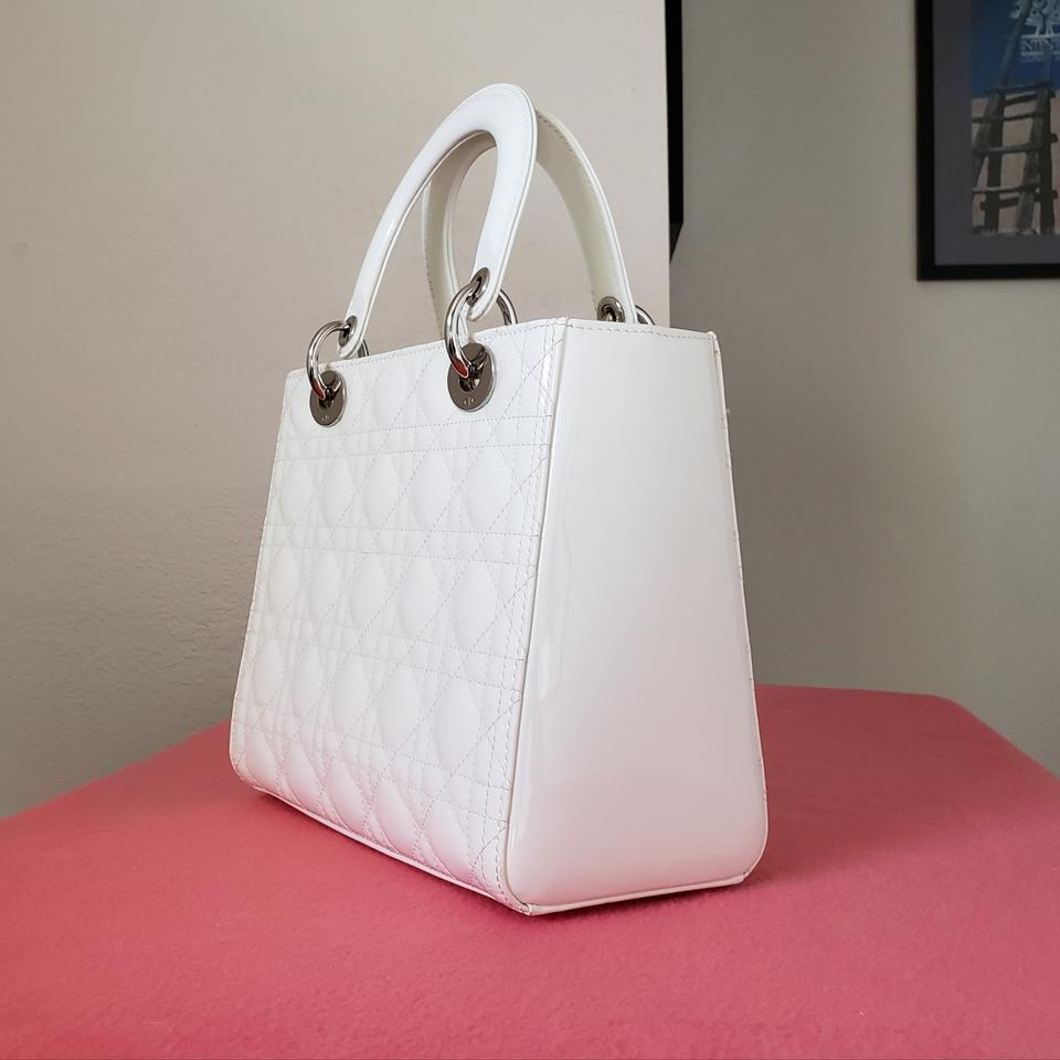 3e59c03ccc4e Dior Lady Lady Purse Lady Lady Medium Lady Patent Tote in off White ivory.  1234567891011