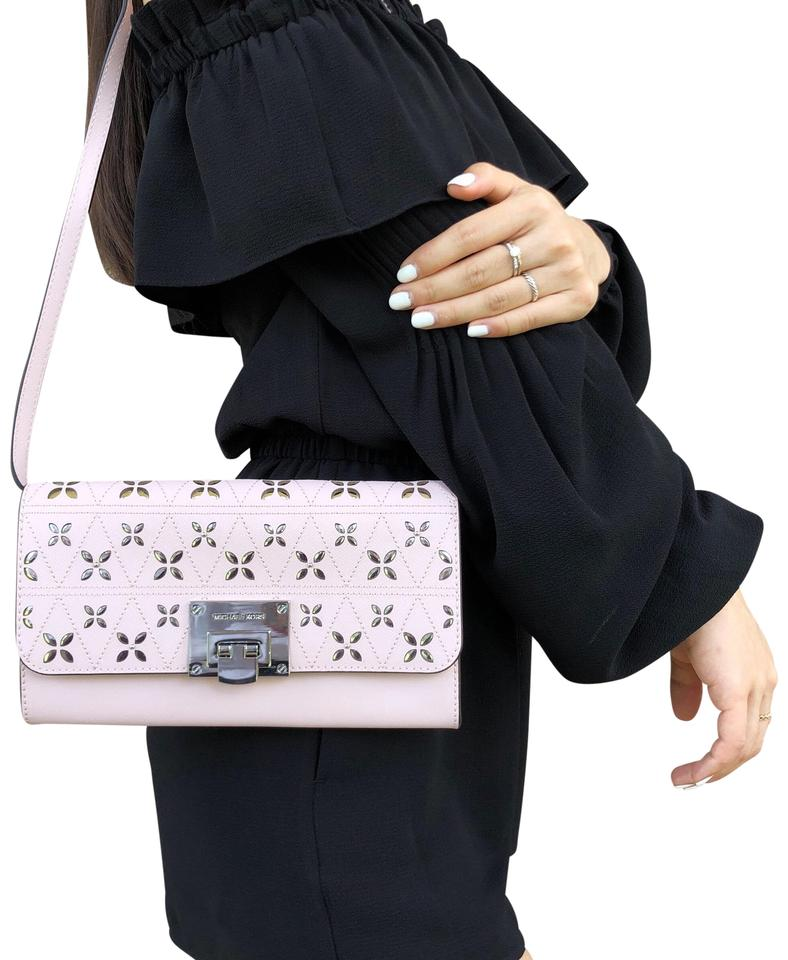 eefa1e2b9f4d Michael Kors Tina Large Clutch Perforated Pink Leather Satchel - Tradesy