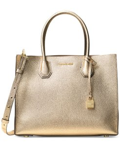 Michael Kors Mercer Leather Tote in Gold