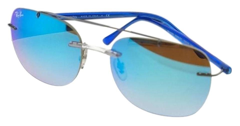 5c5ab627a25 Ray-Ban RB4280-6289B7-55 Aviator Men s Silver Frame Blue Lens Sunglasses  Image ...