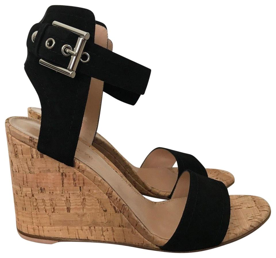 Gianvito Rossi Wedge Black Suede Anklestrap Cork Wedge Rossi Sandals 27bb7d