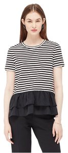 Kate Spade New York Striped Silk T Shirt Black and White