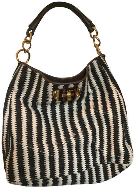 Item - Woven Black and White Lambskin Leather Hobo Bag