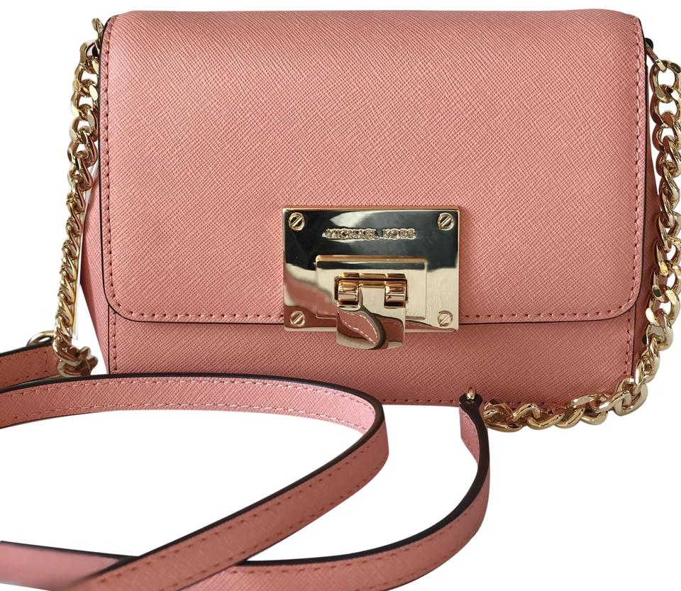 bc4dfd549228 MICHAEL Michael Kors Clutch Tina Small Saffiano Peach Leather Cross Body Bag