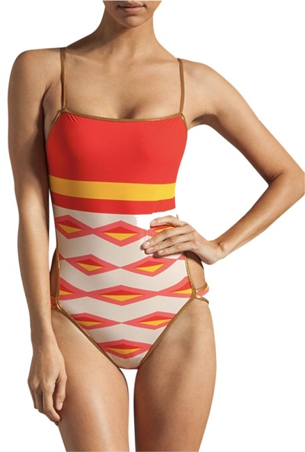 Item - Red Cream Yellow Gold Styke #mj72183 One-piece Bathing Suit Size 4 (S)