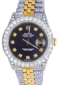 Rolex Mens Ladies 18K/ Steel Datejust 36MM 16013 Black Dial Diamond 9.5 Ct