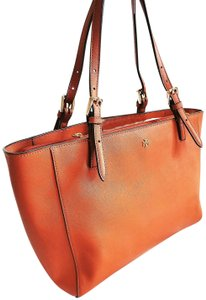 Tory Burch Center Compartment Saffiano Leather Adjustable Handles Buckle Tote in Brown