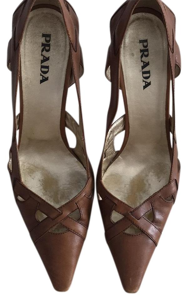 06b56927d6 Prada Tan Luggage Color Open Work with Wooden Heel Pumps Size US 7.5 ...