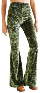Urban Renewal Remade Disco Stretchy Velvet Wide Leg Pants green