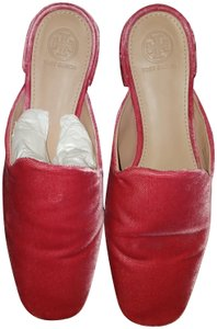 Tory Burch Velvet Leather Preppy Classic Pink Mules