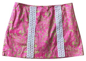 Lilly Pulitzer Mini Skirt pink, green and white