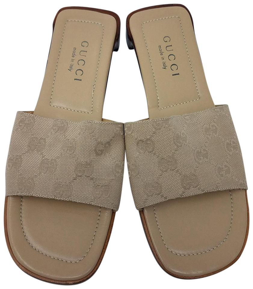 c0a95de3f2b Gucci Beige Nude Gg Monogram Canvas Sandals Size EU 36 (Approx. US 6 ...
