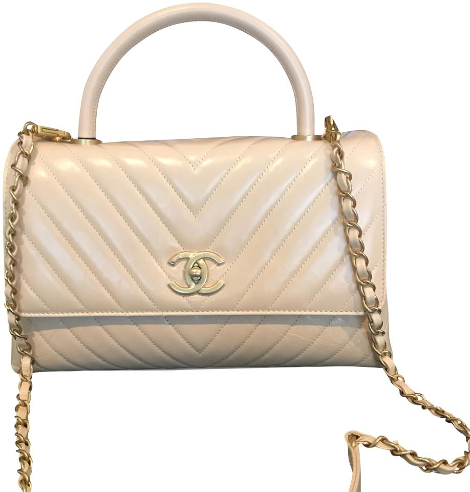 84f1d69162ad Chanel Coco Handle Chevron Quilted Small Light Beige Calfskin ...