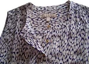 Banana Republic Silk Tunic Spring Top Navy/Tan Print