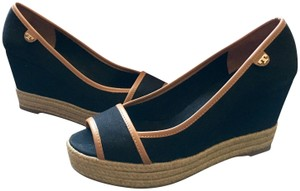 Tory Burch Black/Royal Tan Wedges