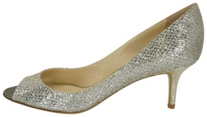 Jimmy Choo Formal Wedding Med Heel Open Toe Silver Pumps