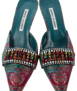 Manolo Blahnik Turquoise, pink, green multicolored Mules