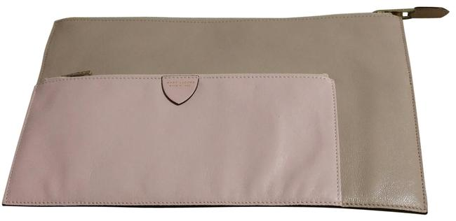 Item - Multi Pouch Beige with Two Pink Pouches Leather Clutch