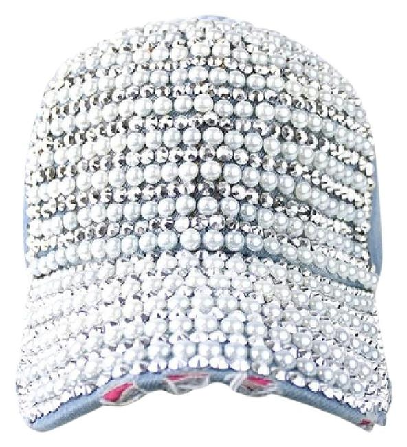Item - Blue Retro Rhinestone Crystal Pearl Accent Jeans Baseball Cap Hat
