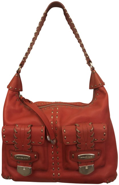 Item - Mk with Silver Hardware and Gold Top Stitch Accents Coral Leather Hobo Bag
