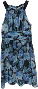 Kay Unger Knee Length Silk Sleeveless Multicolor Dryclean Only Dress