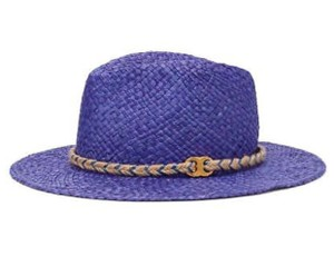 Tory Burch NWT Authentic TORY BURCH Gemini Link Straw Fedora in Navy/ Purple Sea