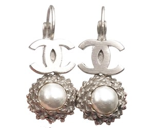 Chanel Chanel Silver CC Faux Pearl Dangle Lever Back Piercing Earrings