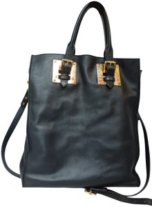 Sophie Hulme Leather Gold Hardware Classic Tote in Black