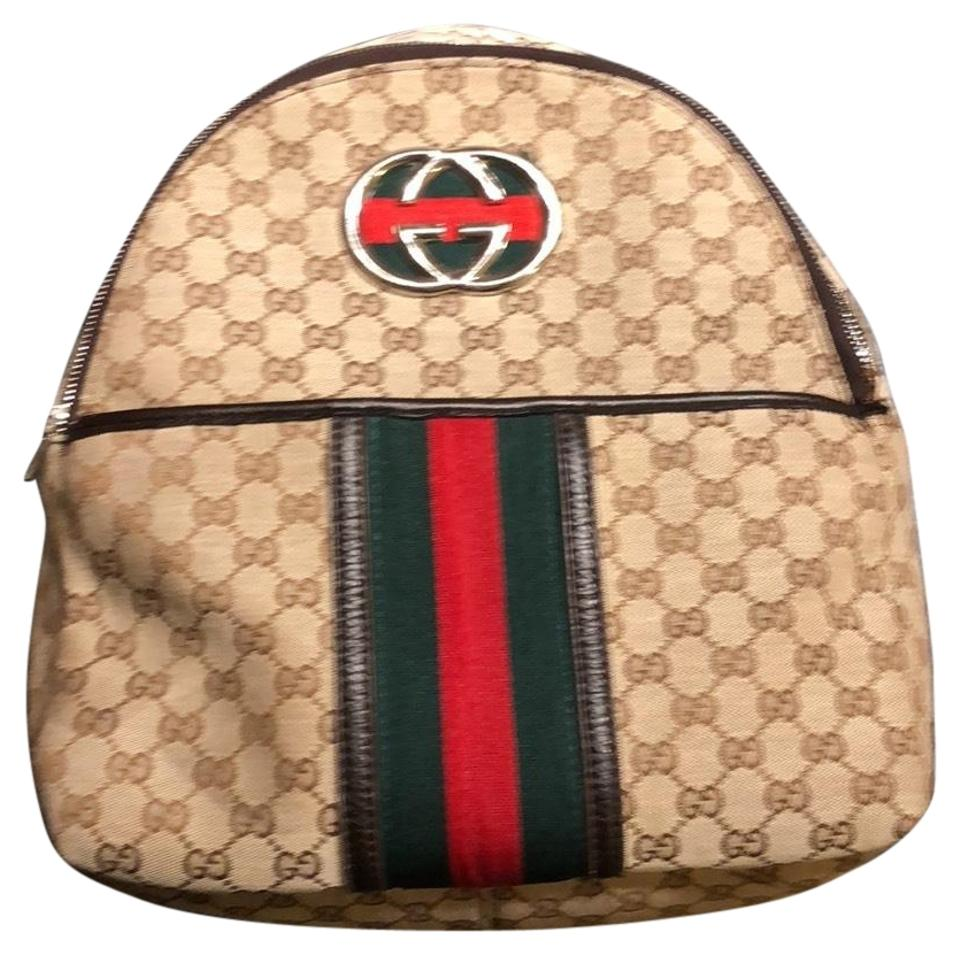 64f2d73e44ba4 Gucci Monogram Canvas Red Green Tan Backpack - Tradesy