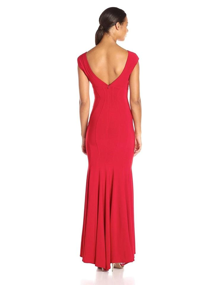 5a716c68198 Betsy   Adam Deep Red V-neck Mermaid Trumpet Gown Long Formal Dress ...