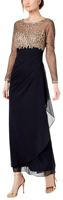 Item - Navy/Gold Embroidered Illusion Gown Navy/Gold 10p Long Formal Dress Size Petite 10 (M)