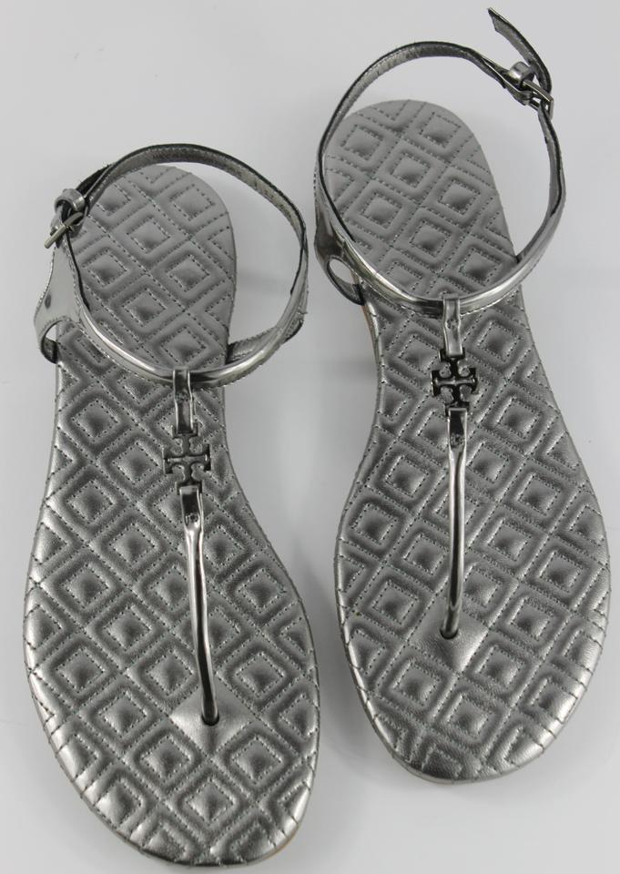 9a8e2ed59 Tory Burch Silver Marion Quilted Sandals Size US 9.5 Regular (M