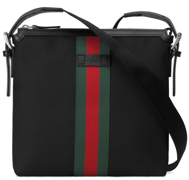 Item - Crossbody New Web Stripe Large Zip Red Green Black Canvas Messenger Bag